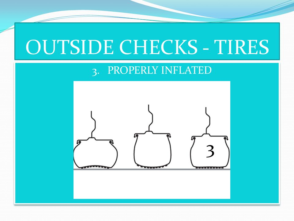 OUTSIDE CHECKS - TIRES 3. PROPERLY INFLATED 3