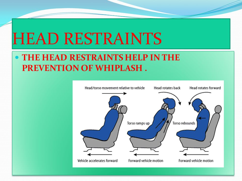 HEAD RESTRAINTS THE HEAD RESTRAINTS HELP IN THE PREVENTION OF WHIPLASH .