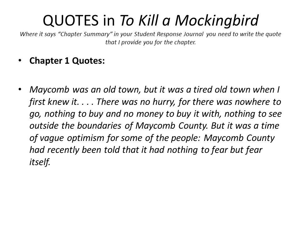 summary for chapter 1 of to kill a mockingbird