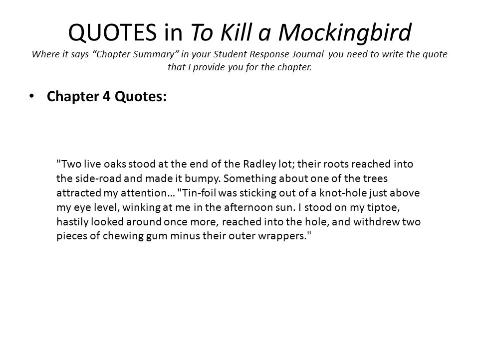 what happens in chapter 4 of to kill a mockingbird