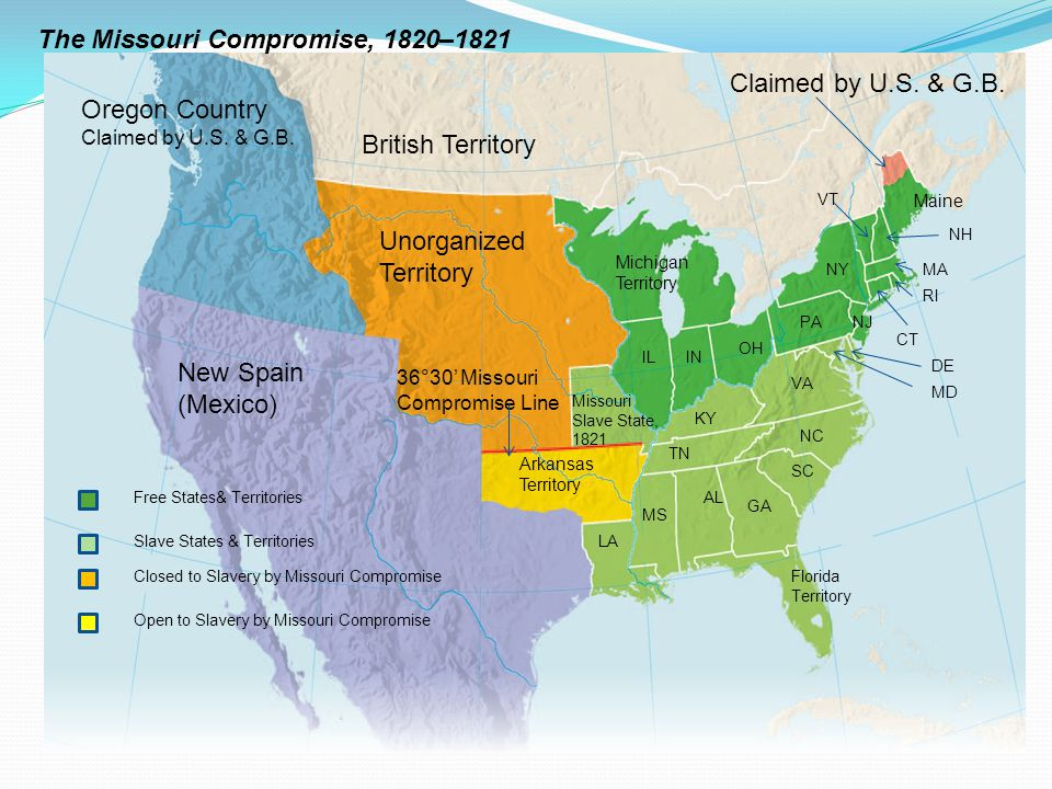 The Missouri Compromise Of Ppt Download - Us-map-in-1820