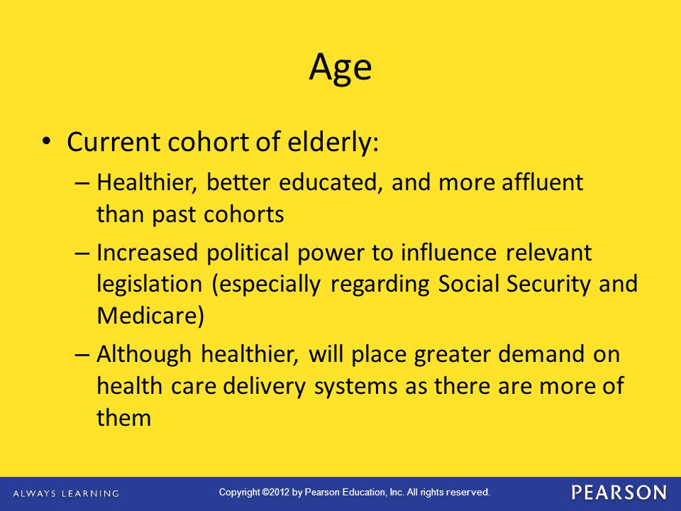 Age Current cohort of elderly: