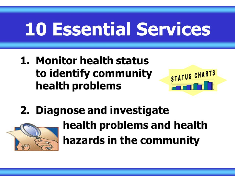 10 Essential Services Monitor health status to identify community health problems.