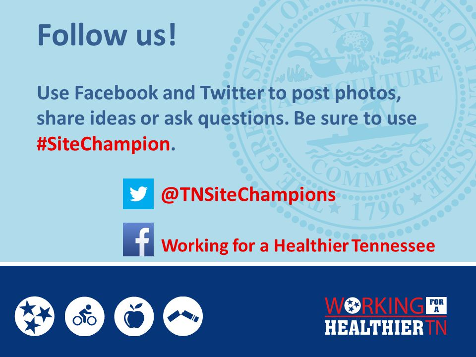 Follow us. Use Facebook and Twitter to post photos, share ideas or ask questions.