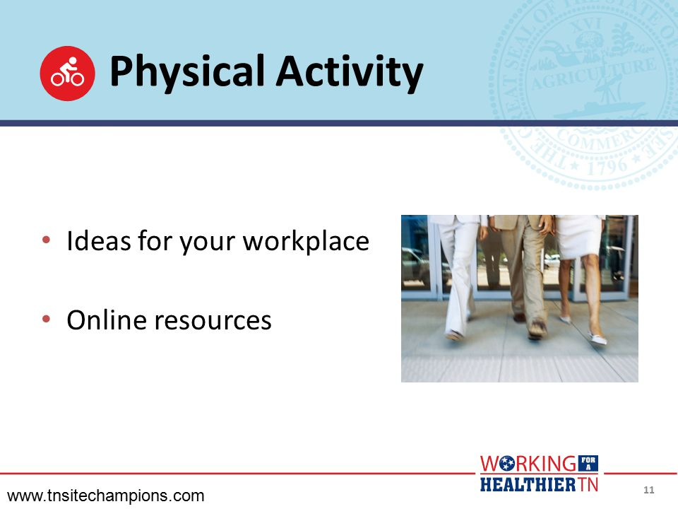 Physical Activity Ideas for your workplace Online resources