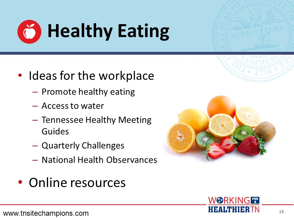 Healthy Eating Online resources Ideas for the workplace