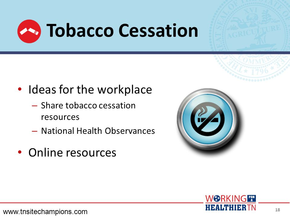 Tobacco Cessation Ideas for the workplace Online resources