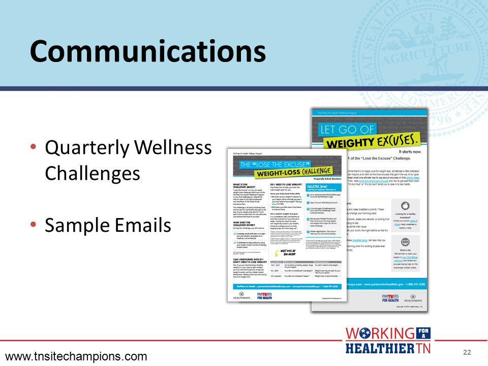 Communications Quarterly Wellness Challenges Sample  s