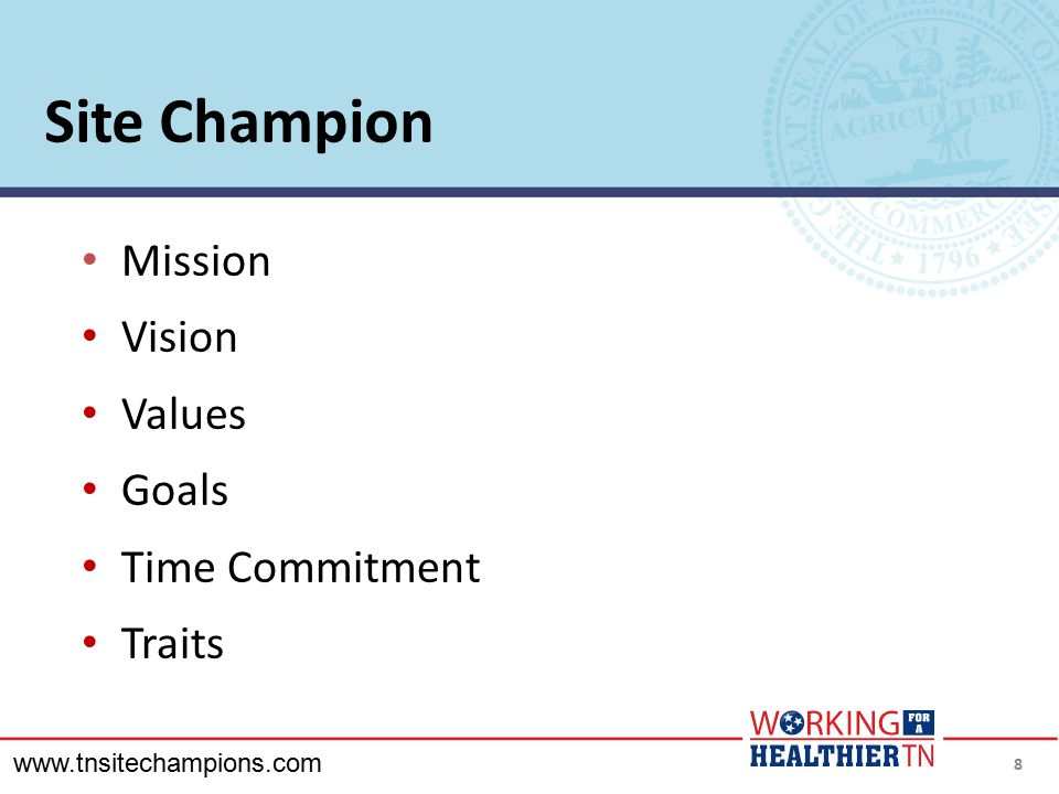 Site Champion Mission Vision Values Goals Time Commitment Traits