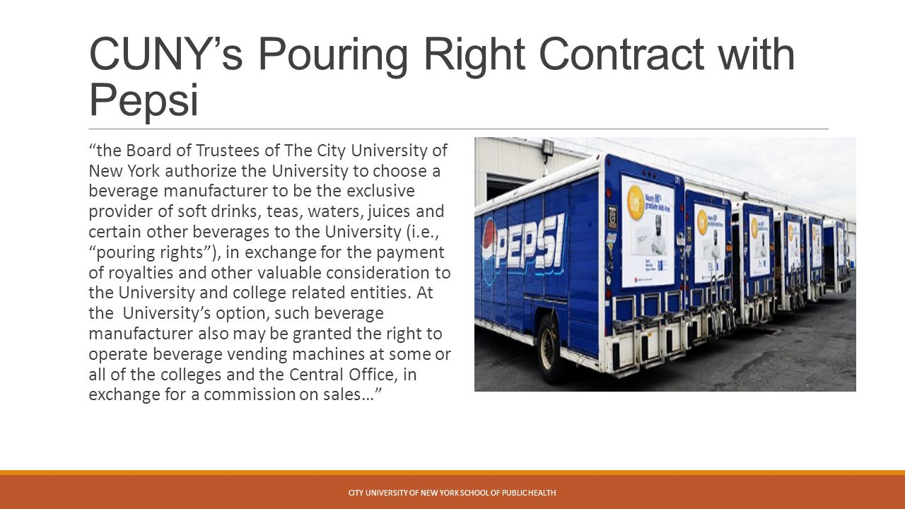 CUNY's Pouring Right Contract with Pepsi