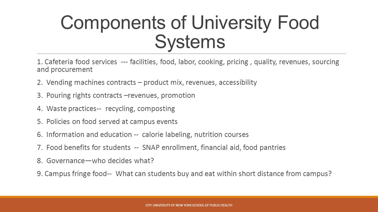Components of University Food Systems