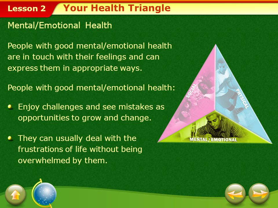 Your Health Triangle Mental/Emotional Health