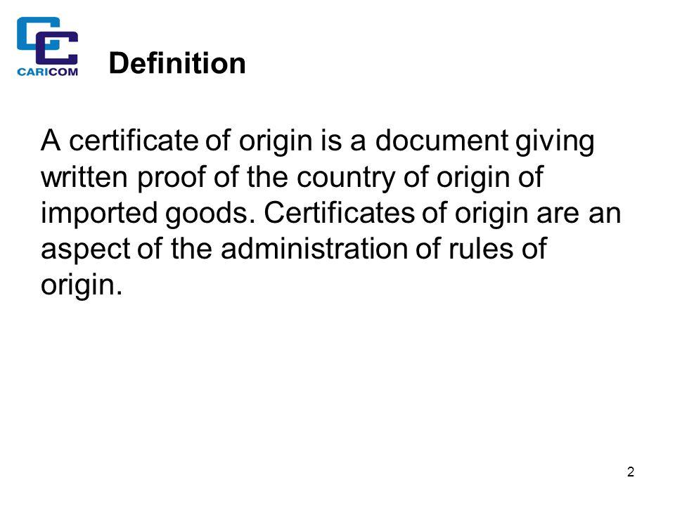 CARICOM Certificate of Origin - ppt download