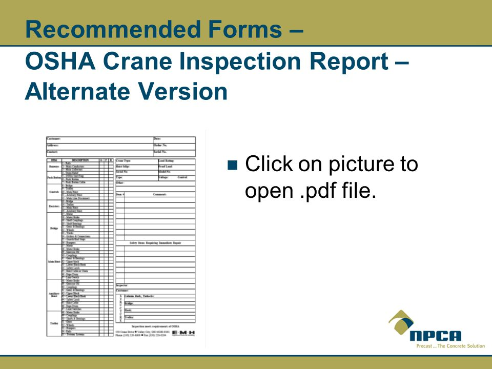Overhead Crane Safety and Inspection Requirements - ppt video online