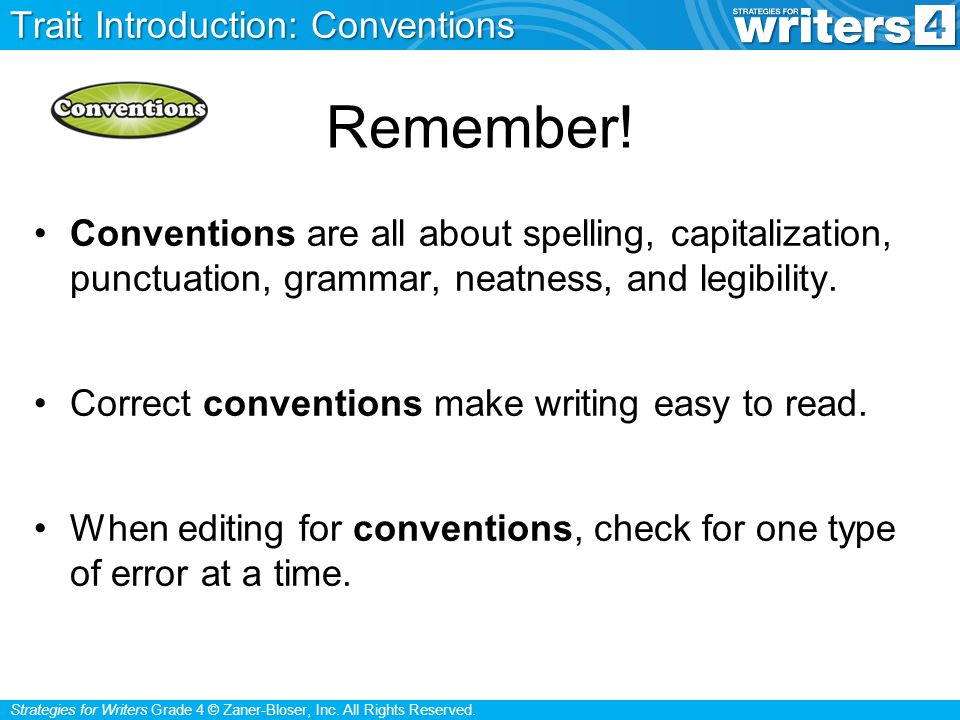 Remember! Trait Introduction: Conventions