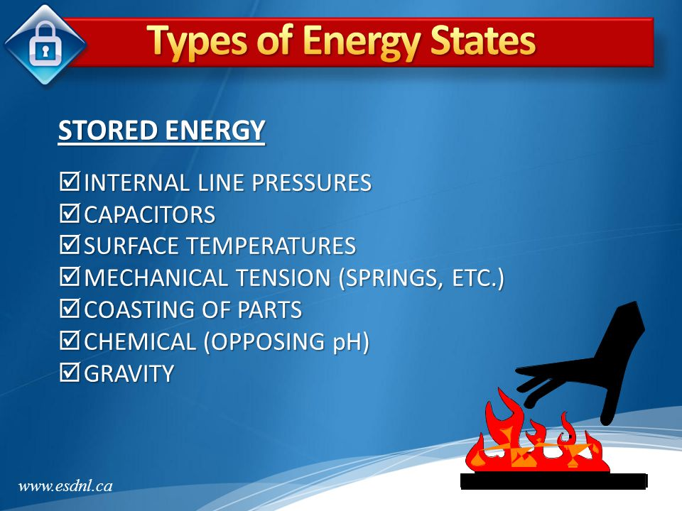 Types of Energy States STORED ENERGY INTERNAL LINE PRESSURES