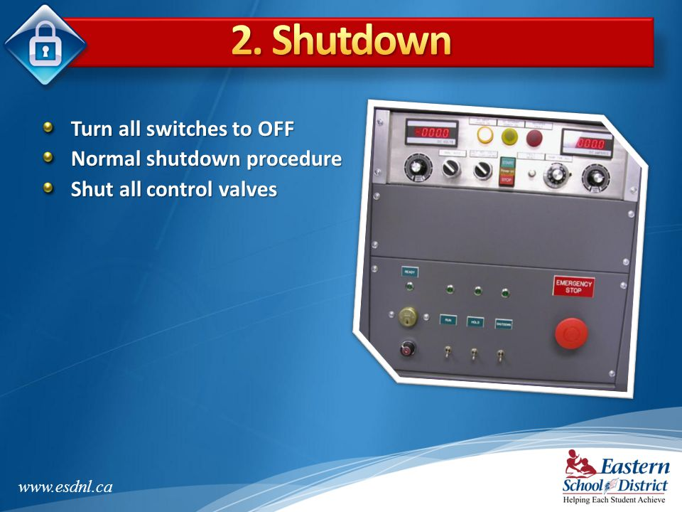 2. Shutdown Turn all switches to OFF Normal shutdown procedure