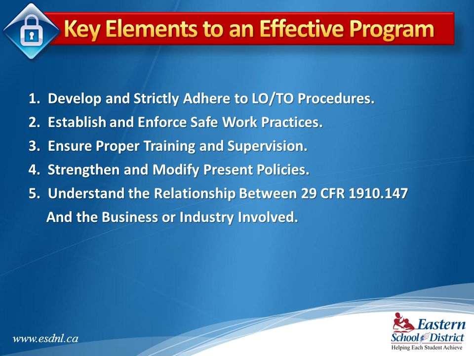 Key Elements to an Effective Program