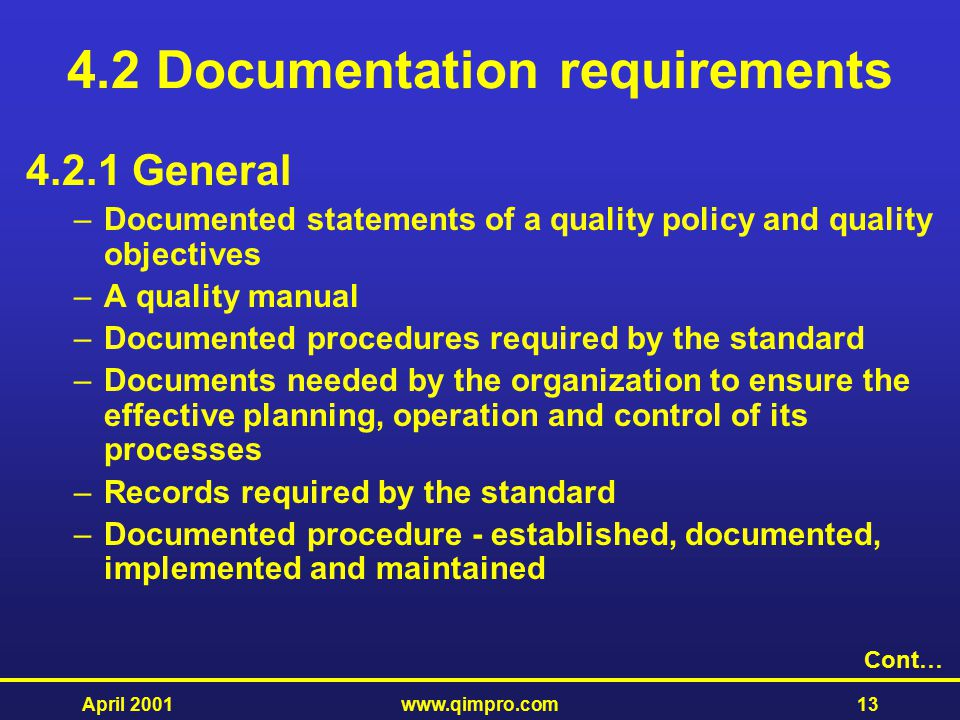 4.2 Documentation requirements
