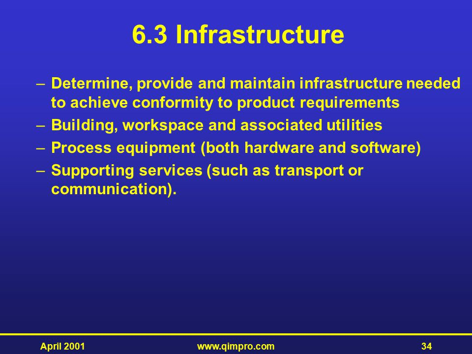 6.3 Infrastructure Determine, provide and maintain infrastructure needed to achieve conformity to product requirements.