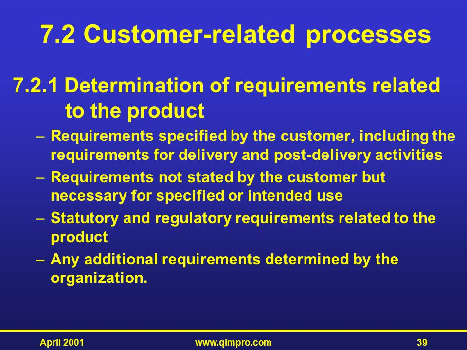 7.2 Customer-related processes