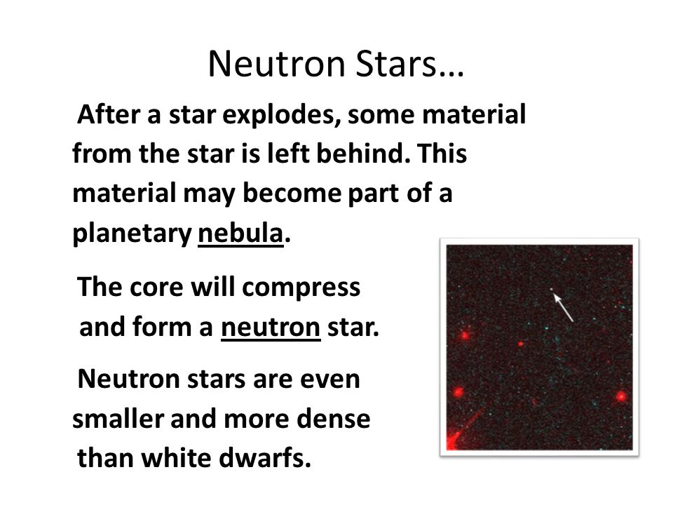 Neutron Stars… After a star explodes, some material
