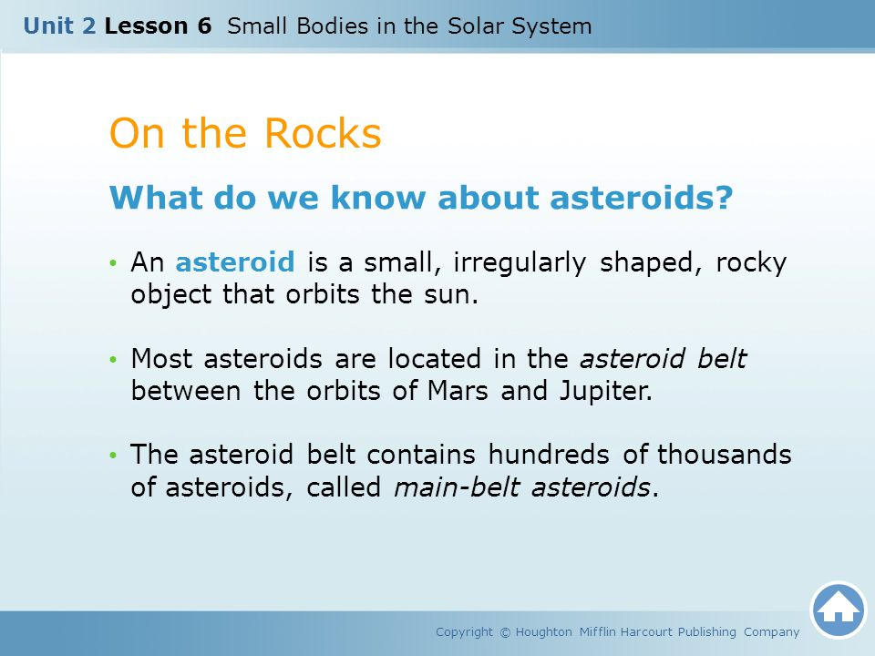 On the Rocks What do we know about asteroids