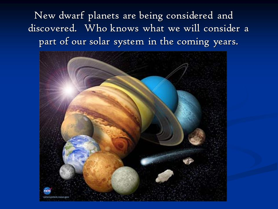 New dwarf planets are being considered and discovered
