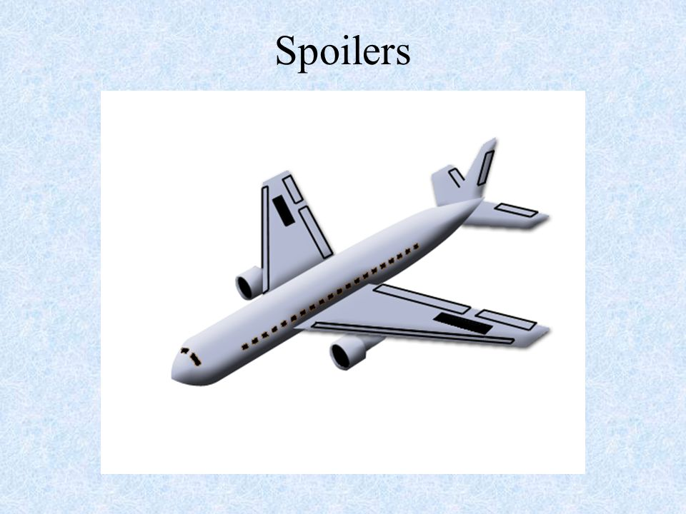 Spoilers NOTE: This slide shows how the aircraft will react when the spoiler's are moved up and down.