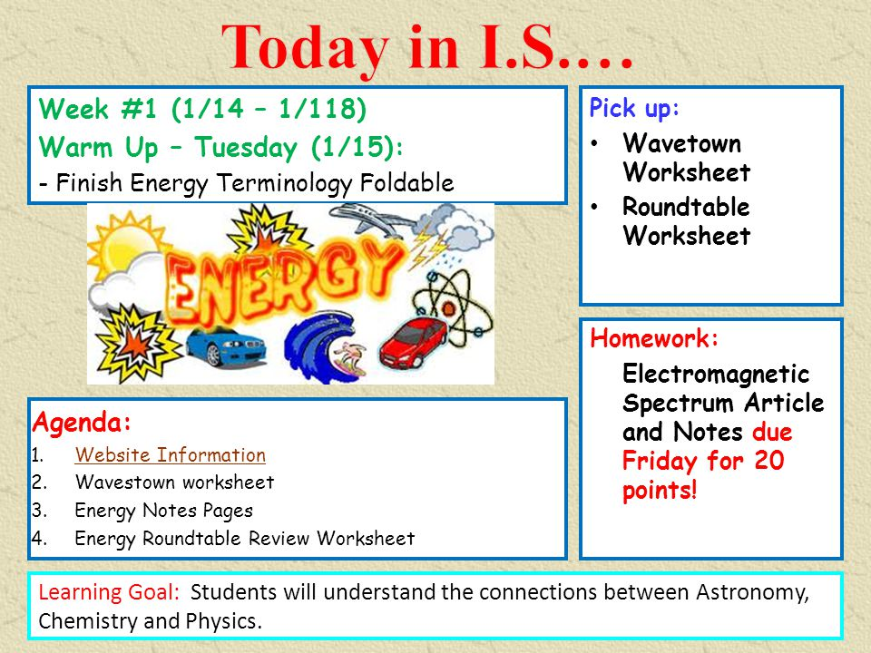 Today in I.S.… Week #1 (1/14 – 1/118) Warm Up – Tuesday (1/15 ...
