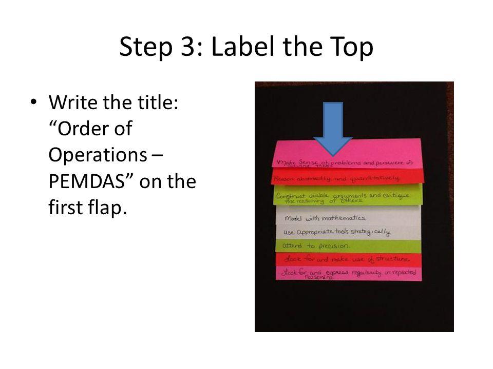 PEMDAS Flipbook PEMDAS – Order of Operations Flipbook