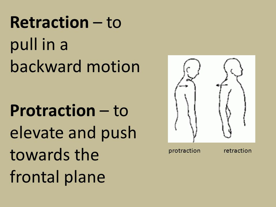 Retraction – to pull in a backward motion