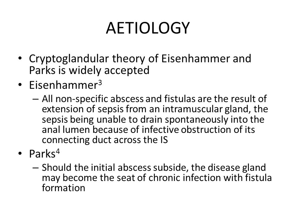 AETIOLOGY Cryptoglandular theory of Eisenhammer and Parks is widely accepted. Eisenhammer3.