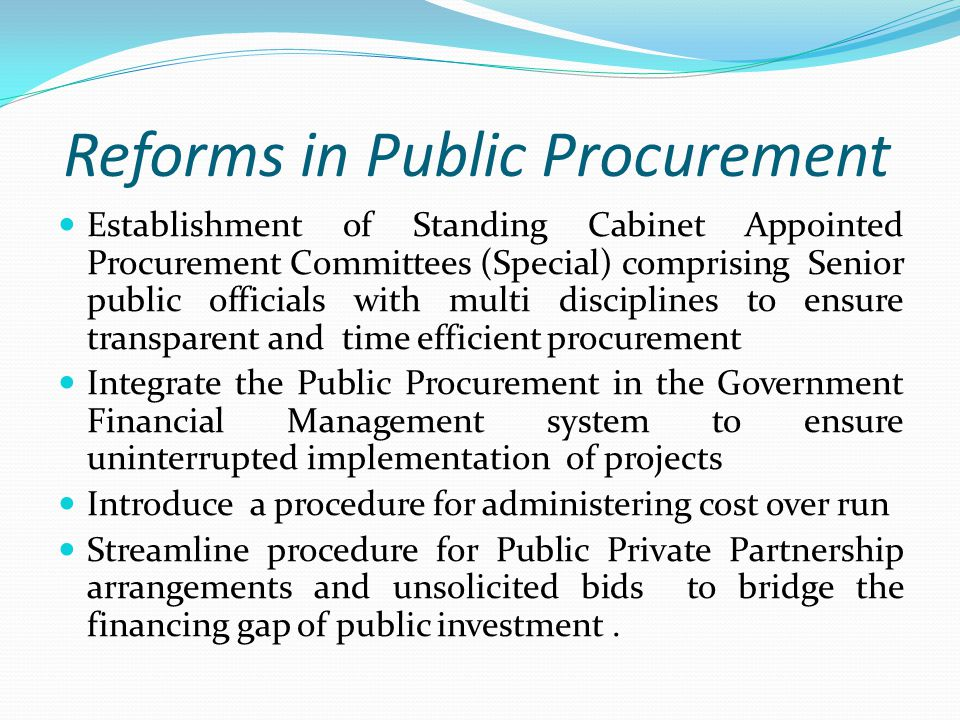 Reforms in Public Procurement