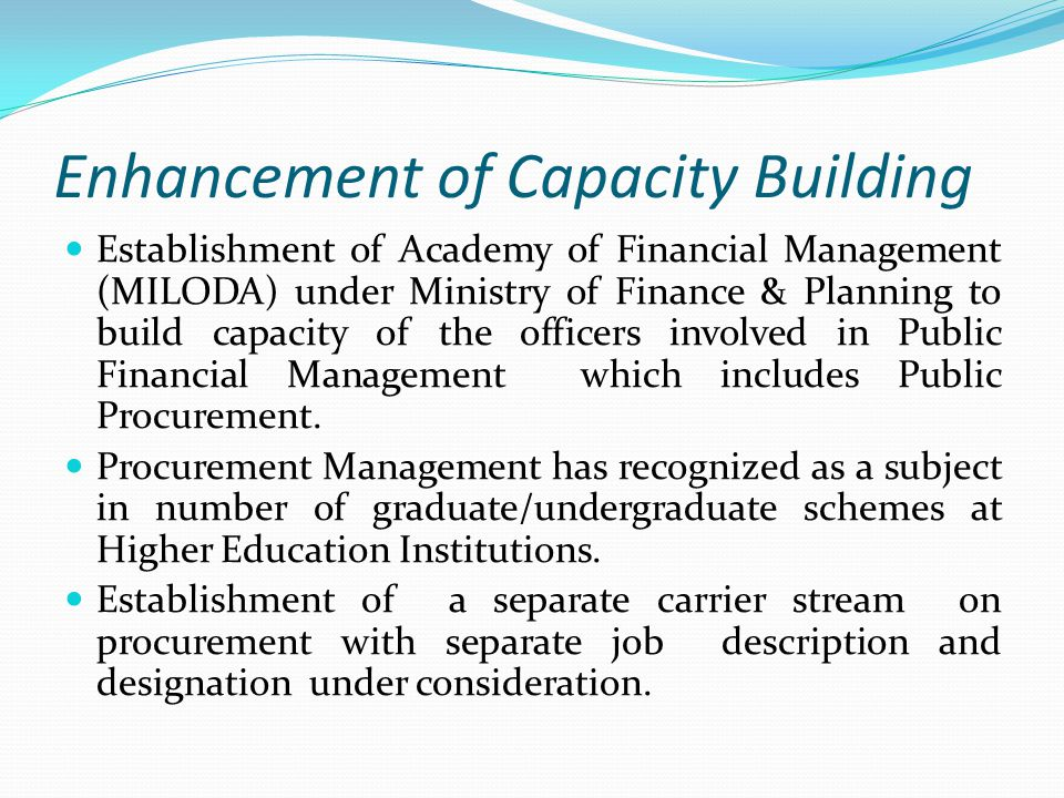Enhancement of Capacity Building