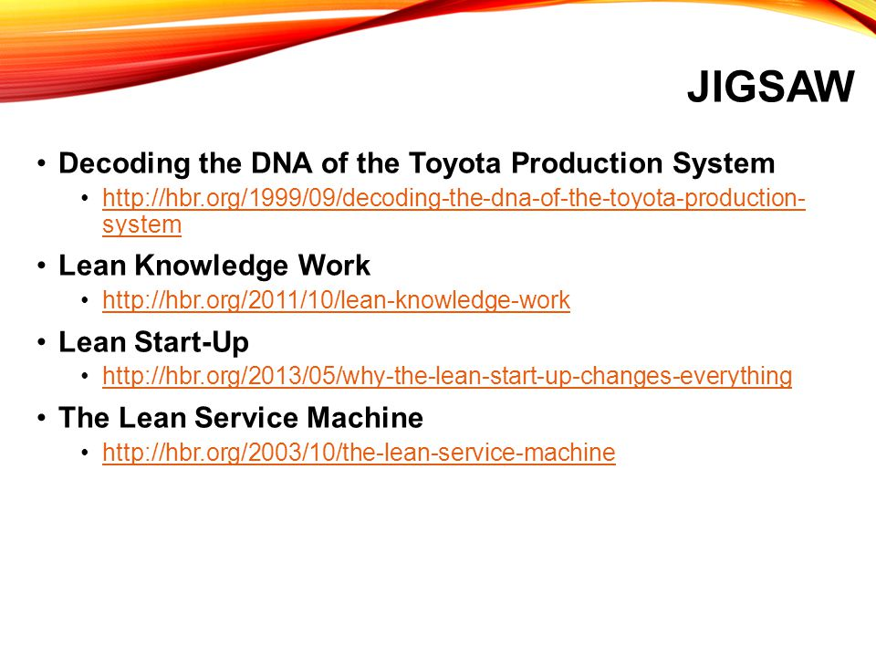 Jigsaw Decoding the DNA of the Toyota Production System