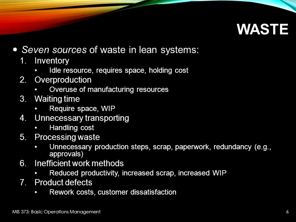 Waste Seven sources of waste in lean systems: Inventory Overproduction