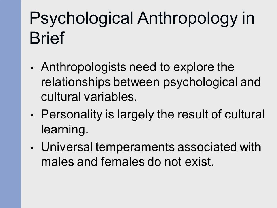 Psychological Anthropology in Brief