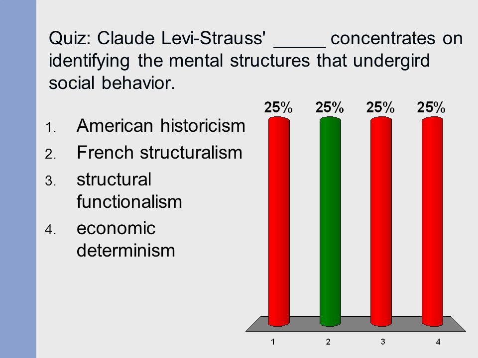 Quiz: Claude Levi-Strauss _____ concentrates on identifying the mental structures that undergird social behavior.