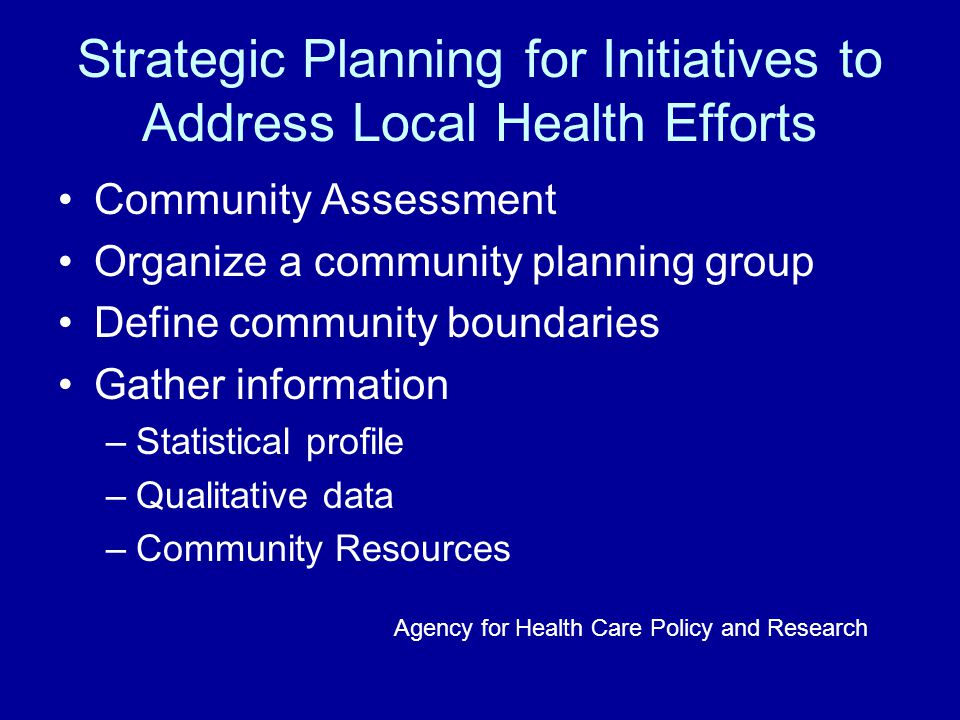 Strategic Planning for Initiatives to Address Local Health Efforts