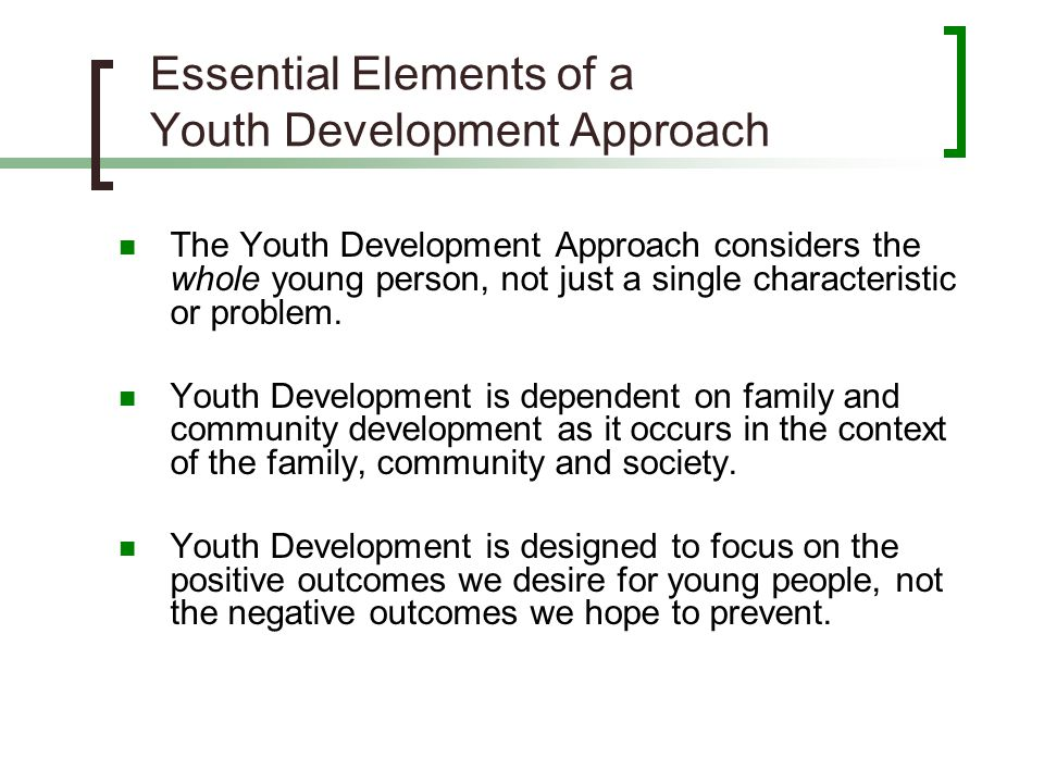 Essential Elements of a Youth Development Approach