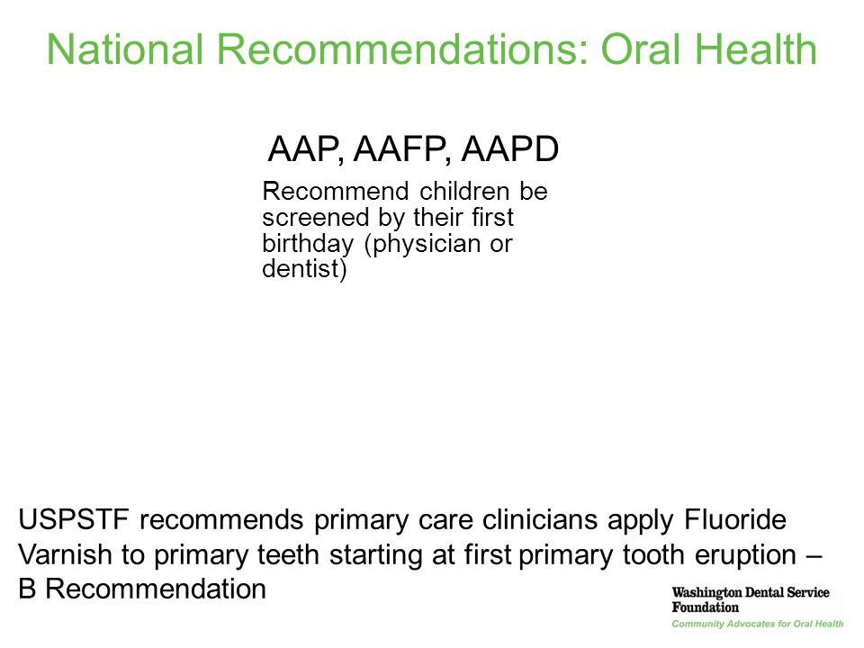 National Recommendations: Oral Health