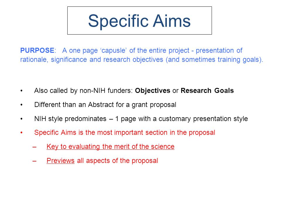Specific aims nih sample grant proposal.