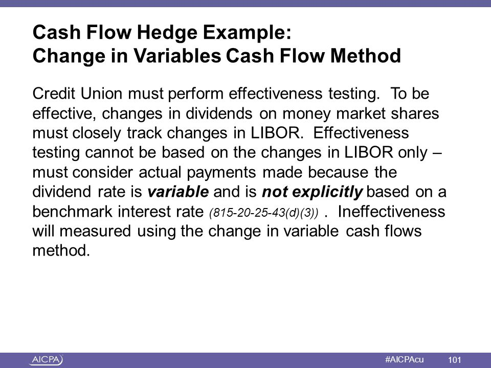 Cash Flow Hedge Example: Change in Variables Cash Flow Method