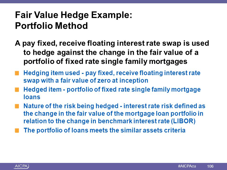 Fair Value Hedge Example: Portfolio Method