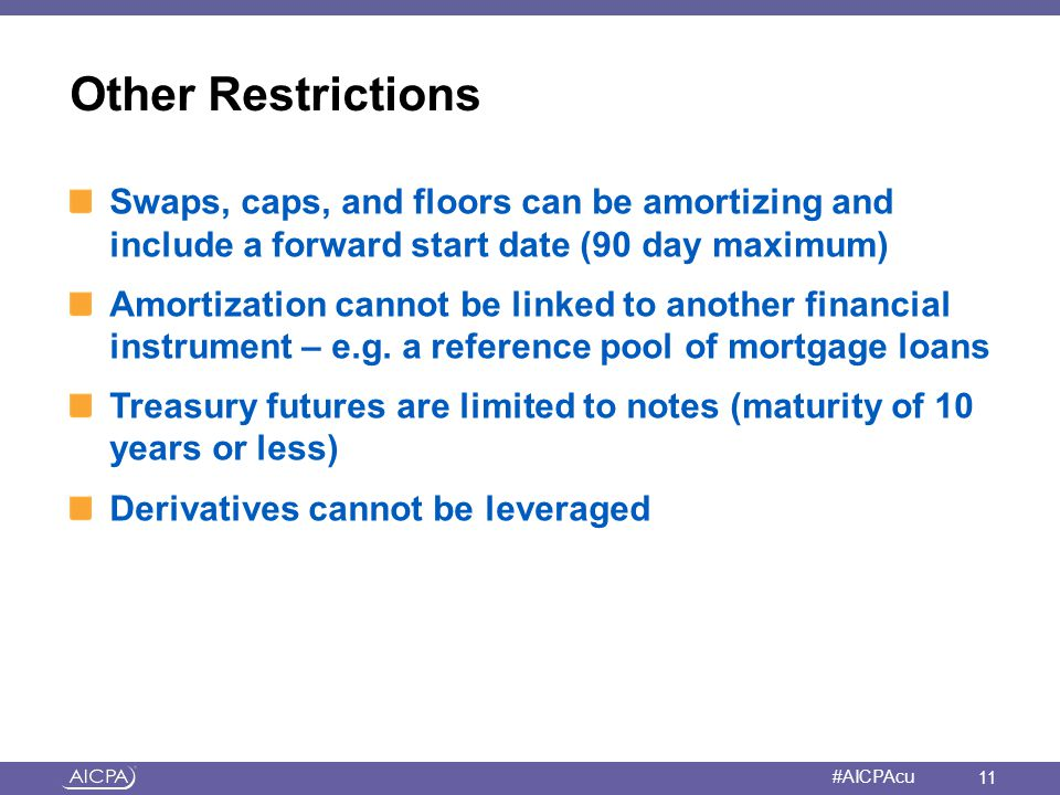 Other Restrictions Swaps, caps, and floors can be amortizing and include a forward start date (90 day maximum)