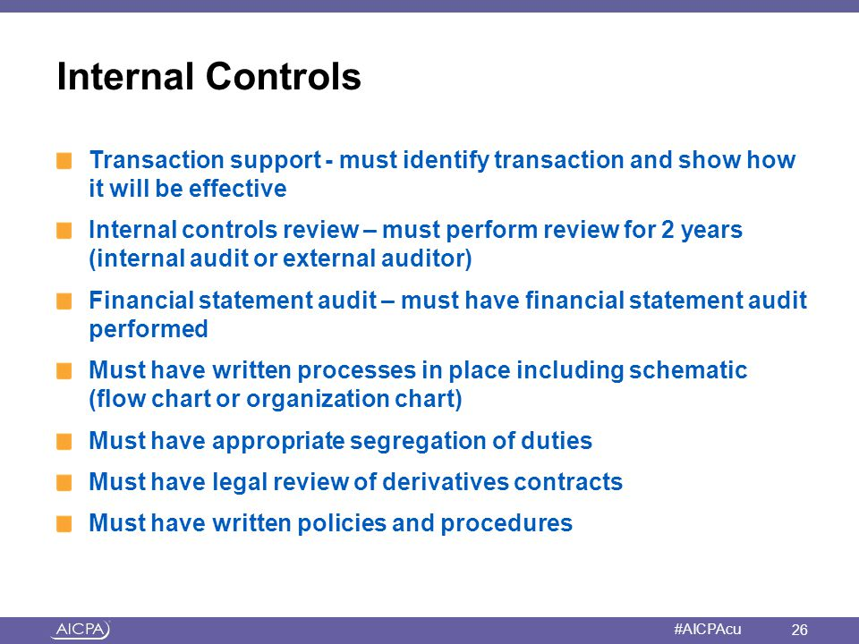 Internal Controls Transaction support - must identify transaction and show how it will be effective.