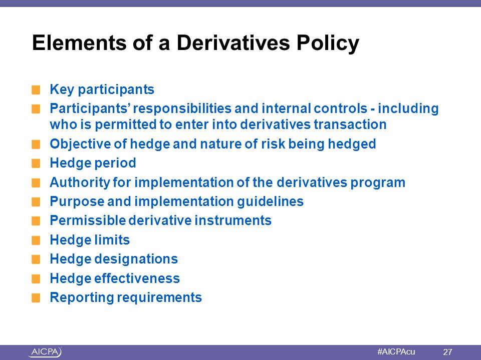 Elements of a Derivatives Policy