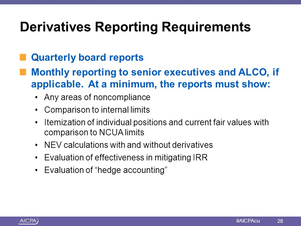 Derivatives Reporting Requirements