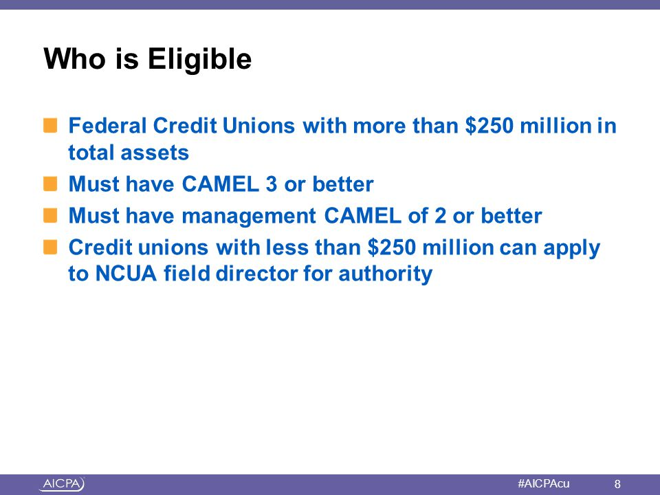 Who is Eligible Federal Credit Unions with more than $250 million in total assets. Must have CAMEL 3 or better.